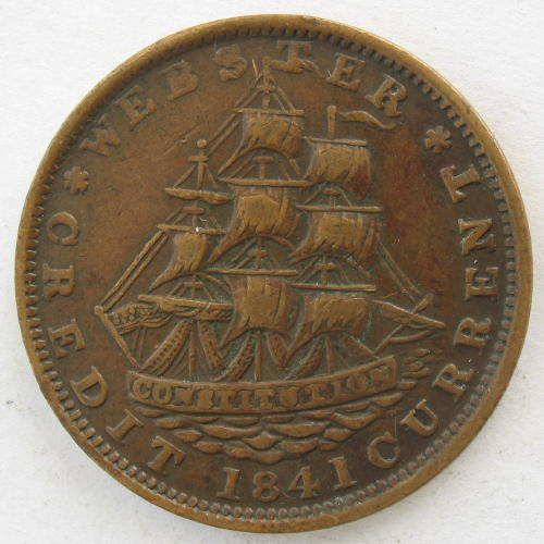 Hard Times Token 1841 'Webster's Credit' - obverse