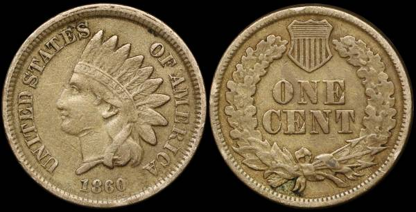 1860 Indian Head Cent VF30