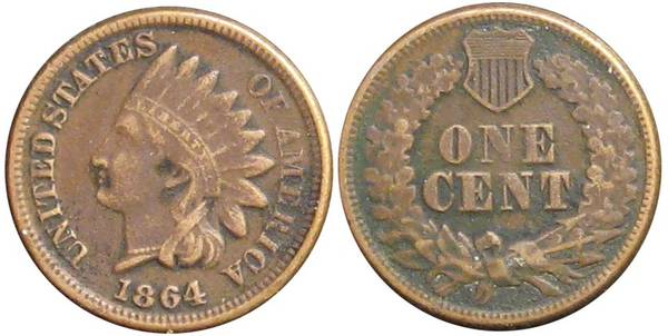 1864 Indian Cent XF CN