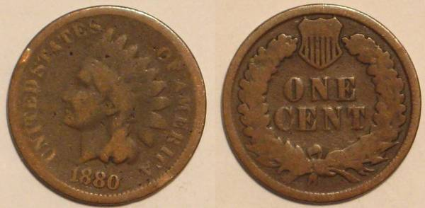 1880 Indian Head Cent Obverse and Reverse G4
