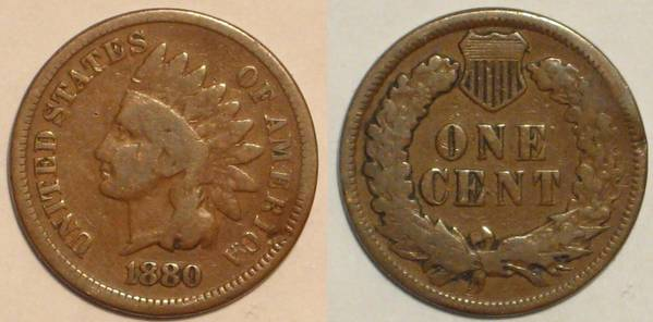 1880 Indian Head Cent Obverse and Reverse G6
