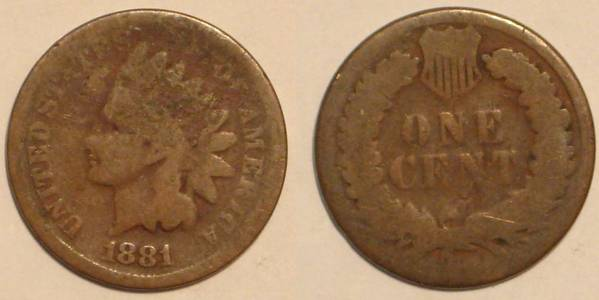 1881 Indian Head Cent Obverse and Reverse AG3