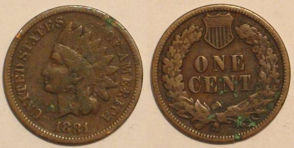 1881 Indian Head Cent Obverse and Reverse VG8 with Liberty Letters Environm