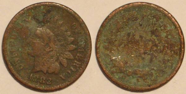 1882 Indian Head Cent Obverse and Reverse AG3