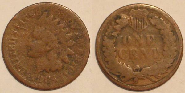 1884 Indian Head Cent Obverse and Reverse AG3