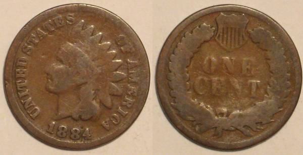 1884 Indian Head Cent Obverse and Reverse G4.