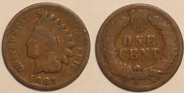 1887 Indian Head Cent Obverse and Reverse G4