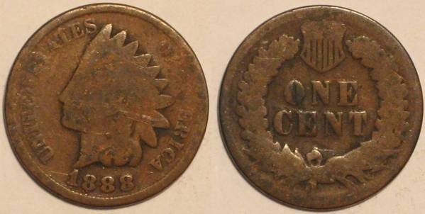 1888 Indian Head Cent Obverse and Reverse G4