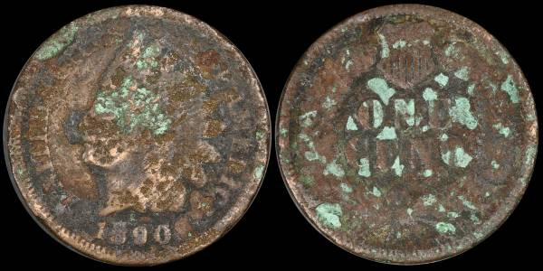 1890 Indian Head Cent CULL Green Environmental Damage