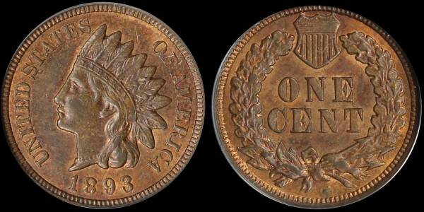 1893 Indian Head Cent MS62 BRN ANACS 5335184 raw