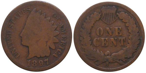 1897 Indian Head Cent low G4 or AG3