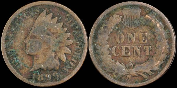 1899 Indian Head Cent CULL Green Environmental Damage