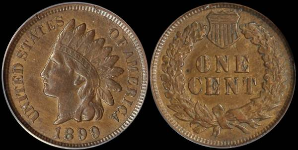 1899 Indian Head Cent EF45 ANACS 5335185 raw