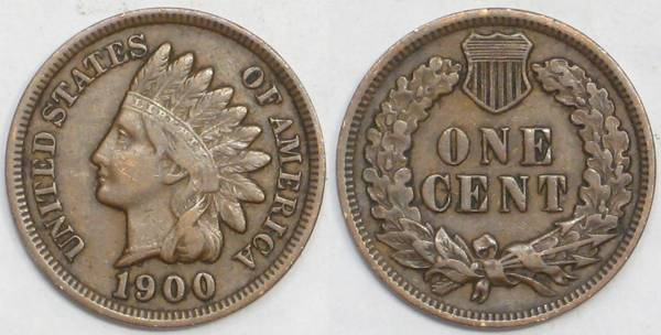 1900 Indian Cent VF30
