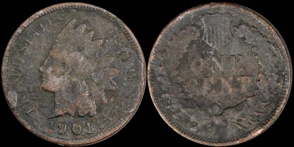 1901 Indian Head Cent CULL Heavily Corroded