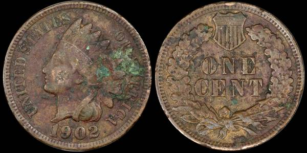 1902 Indian Head Cent CULL Green Environmental Damage
