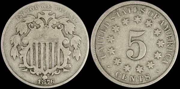 1876 Shield Nickel G