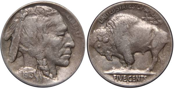 1913 S Type II Buffalo Nickel