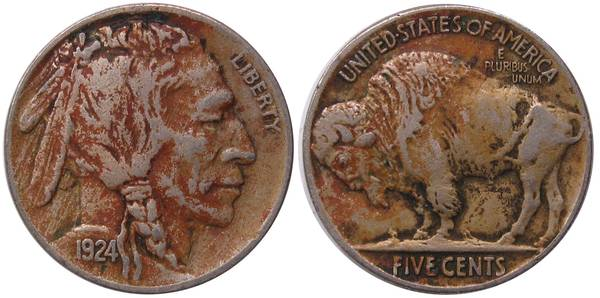 1924 P Buffalo Nickel VF with Reddish Color