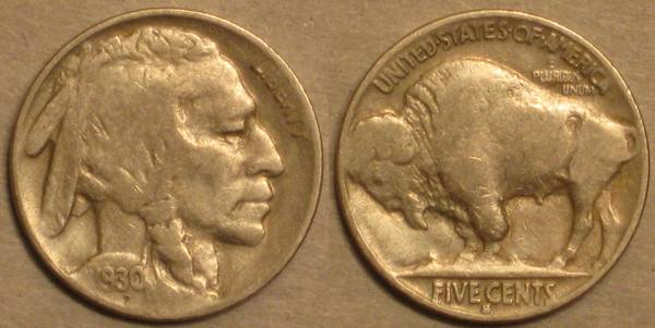 1930 S Buffalo Nickel VG8