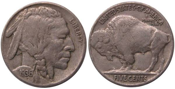1936 P Buffalo Nickel F12