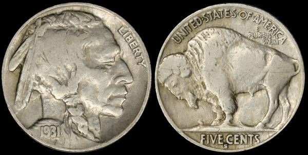 1931 S Buffalo Nickel Fine coin 27