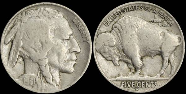 1931 S Buffalo Nickel Fine coin 30