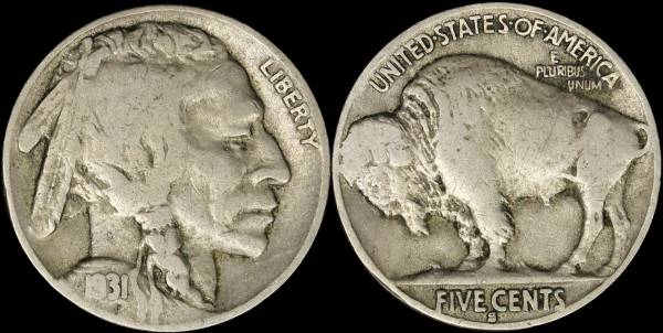 1931 S Buffalo Nickel Fine coin 37