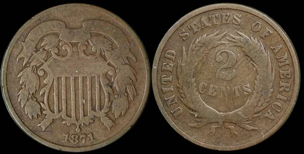 003 1871 two cent piece G-VG