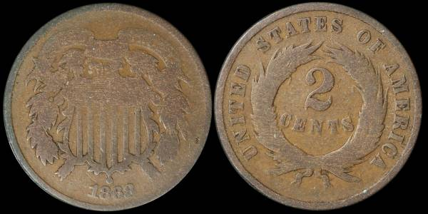 1868 two cent piece G