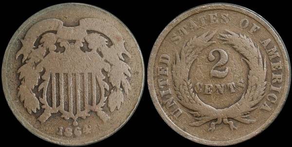 008 1864 two cent piece G