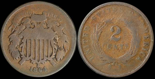 009 1864 two cent piece G