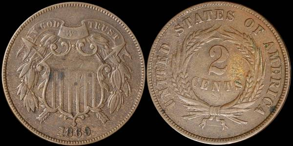014 1869 two cent piece F