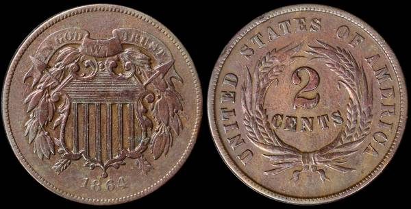 018 1864 two cent piece VF
