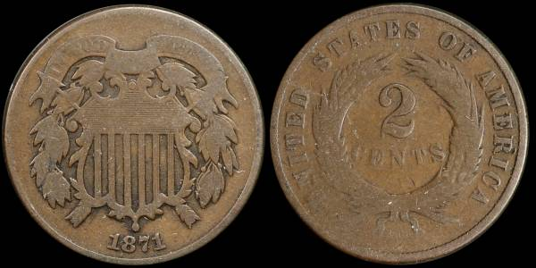 021 1871 two cent piece G