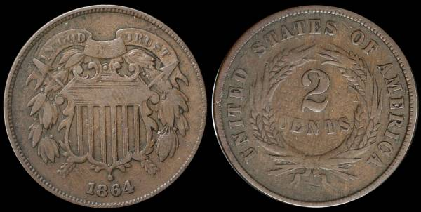 022 1864 two cent piece VG