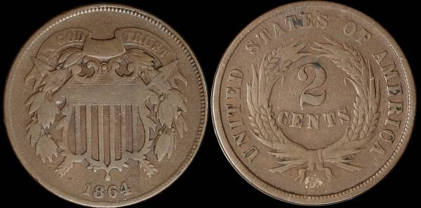 023 1864 two cent piece VG