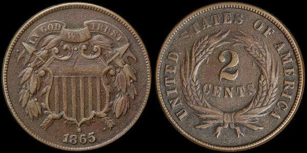 024 1865 two cent piece VF