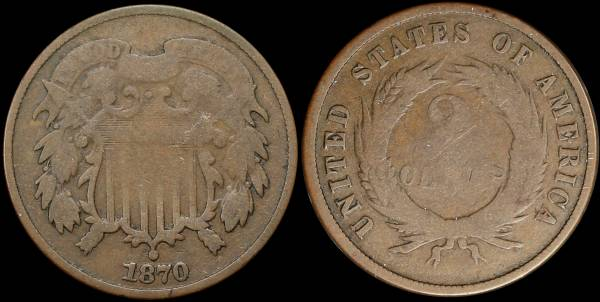 025 1870 two cent piece G