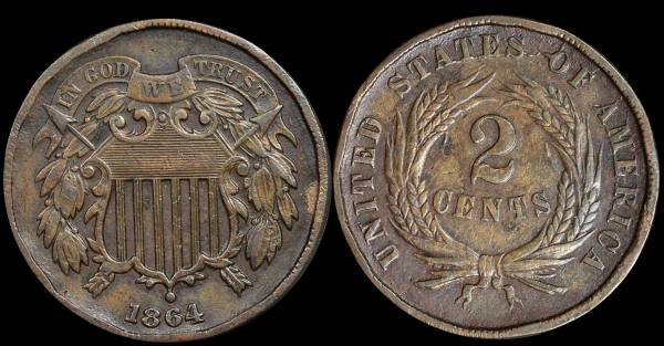 026 1864 two cent piece XF Die Crack