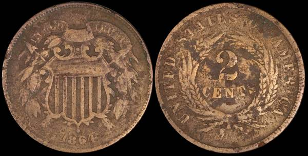 1864 2 two cent piece damaged VG details