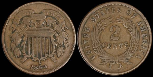 1864 two cent piece F12