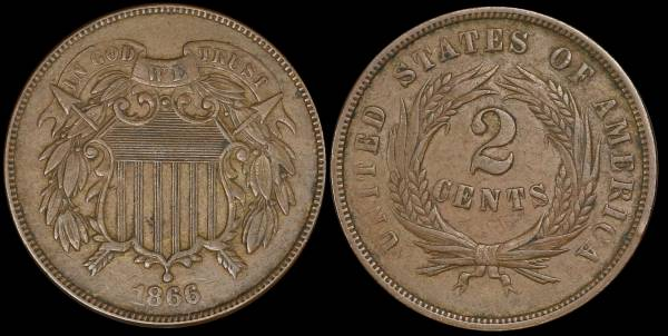 1866 two cent piece vf30