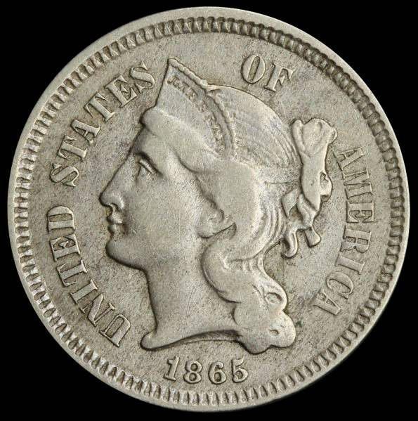 1865 3 cent nickel VF obverse