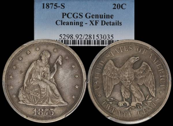 1875 S Twenty Cent Piece PCGS XF Details Cleaned 28153035