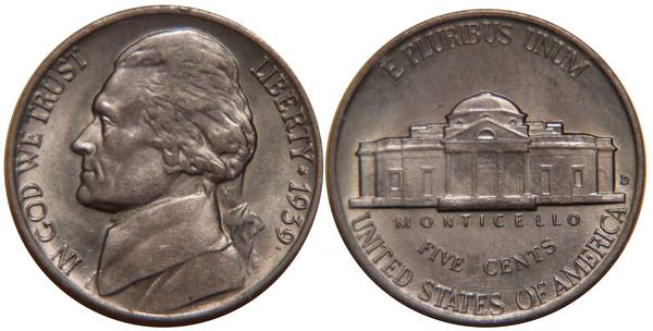1939 D Jefferson Nickel BU-UNC