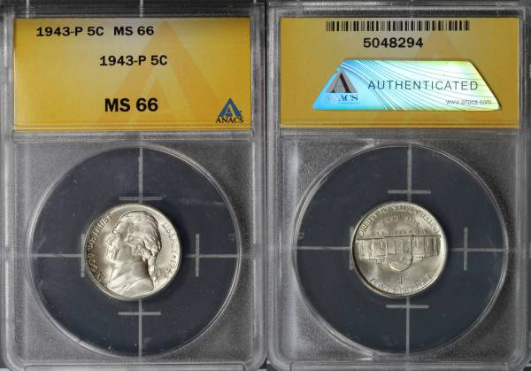 1943 P Jefferson Silver War Nickel ANACS MS66 5048294 slab