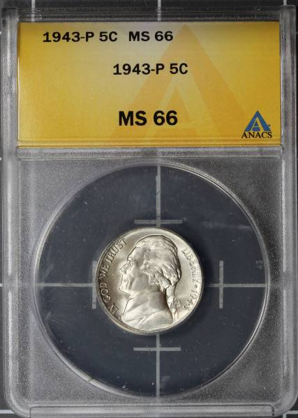 1943 P Jefferson Silver War Nickel ANACS MS66 5048294 slab obverse