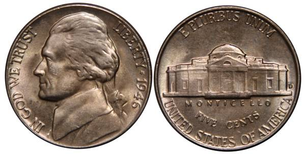 1946 D Jefferson Nickel UNC