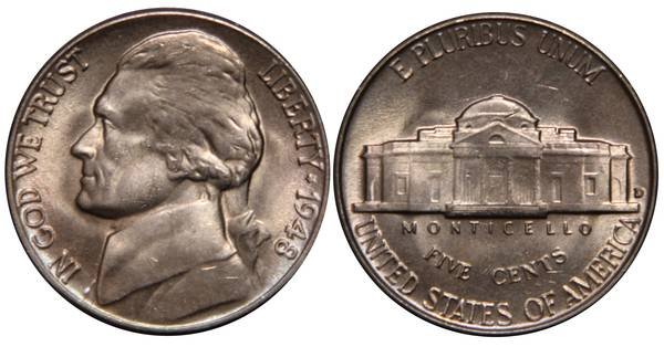 1948 D Jefferson Nickel UNC